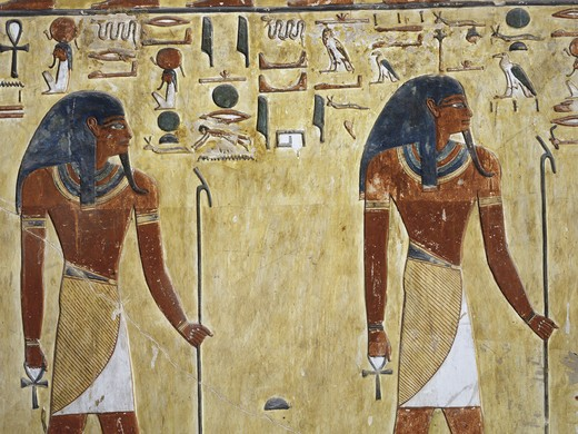 Egypt, Thebes, Luxor, Valley of the Kings, Tomb of Seti I, mural painting of two gods, from nineteenth dynasty : Stock Photo