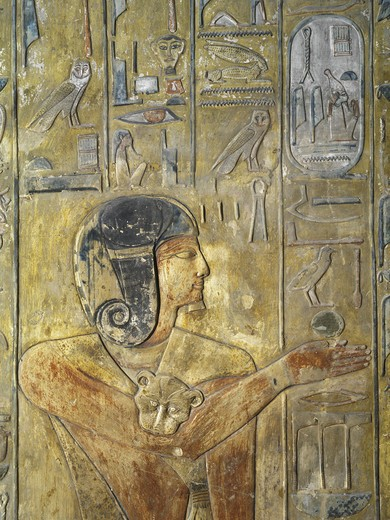 Stock Photo: 1788-10368 Egypt, Thebes, Luxor, Valley of the Kings, Tomb of Seti I, relief depicting Horus in feline skin, from nineteenth dynasty