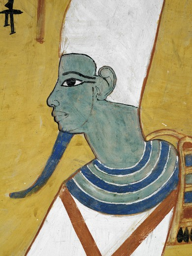 Egypt, Thebes, Luxor, Valley of the Kings, Tomb of Thutmose IV, mural painting of Adoration of the gods, Osiris, from eighteenth dynasty : Stock Photo