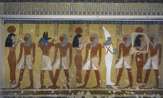 Egypt, Thebes, Luxor, Valley of the Kings, Tomb of Thutmose IV, mural painting of Adoration of the gods Osiris, Anubis and Isis, from eighteenth dynasty : Stock Photo
