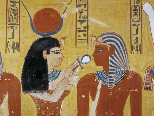 Egypt, Thebes, Luxor, Valley of the Kings, Tomb of Thutmose IV, mural painting of Adoration of the gods, Isis and pharaoh, from eighteenth dynasty : Stock Photo