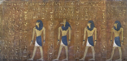 Stock Photo: 1788-10390 Egypt, Thebes, Luxor, Valley of the Kings, Tomb of Thutmose IV, mural painting of Historiated sarcophagus, from eighteenth dynasty
