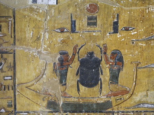 Egypt, Thebes, Luxor, Valley of the Kings, Tomb of Seti I, mural painting of Scarab beetle, from nineteenth dynasty : Stock Photo