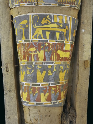 Stock Photo: 1788-10403 Egypt, Saqqara necropolis, detail of cartonnage, embalmer with mummified person on lion-shaped table with God Osiris and Ra-Harakti back to back, from 4th century BC