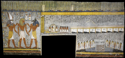 Egypt, Thebes, Luxor, Valley of the Kings, Tomb of Ramses I, mural painting of Pharaoh between Harsiesis and Anubis, from nineteenth dynasty : Stock Photo