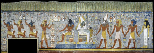 Egypt, Thebes, Luxor, Valley of the Kings, Tomb of Ramses I, mural painting of Pharaoh kneeling between Harsiesis and Anubis, from nineteenth dynasty : Stock Photo