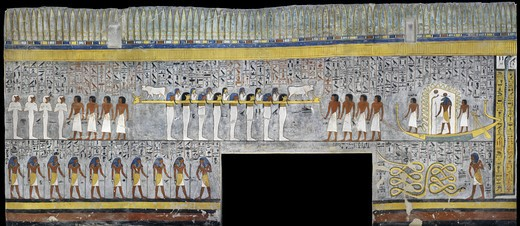 Stock Photo: 1788-10406 Egypt, Thebes, Luxor, Valley of the Kings, Tomb of Ramses I, mural painting of Ra in solar bark, from nineteenth dynasty