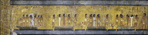Egypt, Thebes, Luxor, Valley of the Kings, Tomb of Seti I, mural painting of people on boats from 19th dynasty in burial chamber : Stock Photo
