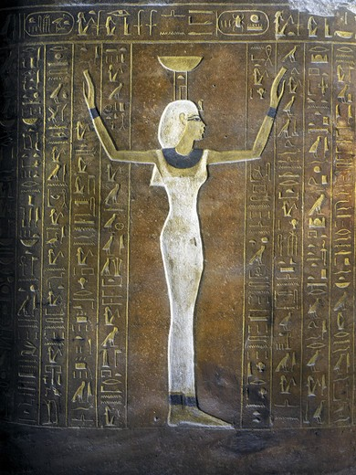 Stock Photo: 1788-10412 Egypt, Thebes, Luxor, Valley of the Kings, Tomb of Thutmose IV, mural painting of Egyptian woman from 18th dynasty in burial chamber