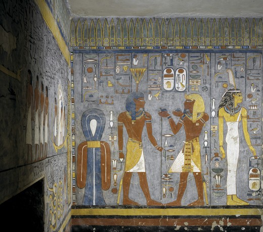 Egypt, Thebes, Luxor, Valley of the Kings, Tomb of Ramses I, mural painting of Pharaoh and Ma'at offering wine to Nefertem, in 19th dynasty burial chamber : Stock Photo