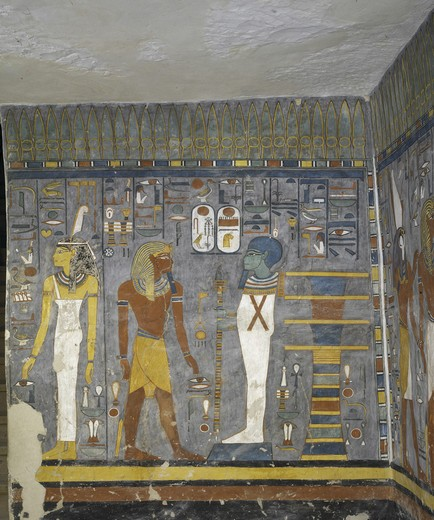 Egypt, Thebes, Luxor, Valley of the Kings, Tomb of Ramses I, mural painting of Ma'at, pharaoh and Ptah, in burial chamber from 19th dynasty : Stock Photo
