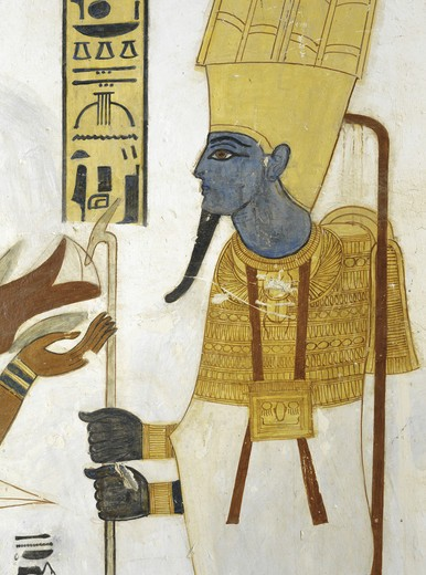 Egypt, Thebes, Luxor, Valley of the Kings, Tomb of Prince Mentuherkhepeshef, mural painting of god Osiris receiving bird in offering, 20th dynasty : Stock Photo