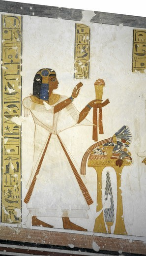 Egypt, Thebes, Luxor, Valley of the Kings, Tomb of Prince Mentuherkhepeshef, mural painting of Prince, 20th dynasty : Stock Photo