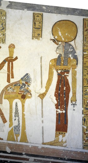 Egypt, Thebes, Luxor, Valley of the Kings, Tomb of Prince Mentuherkhepeshef, mural painting of Cat-head goddess Bastet, 20th dynasty : Stock Photo
