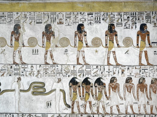 Egypt, Thebes, Luxor, Valley of the Kings, Tomb of Seti I, mural painting from Illustrated Book of Gates in Pillared chamber from 19th dynasty : Stock Photo