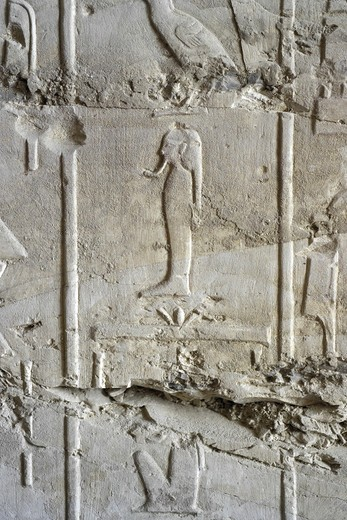 Stock Photo: 1788-10442 Egypt, Thebes, Luxor, Valley of the Kings, Tomb of Ramses II, relief of hieroglyphics illustrating Litany of Ra from 19th dynasty