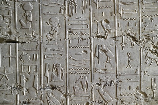 Stock Photo: 1788-10446 Egypt, Thebes, Luxor, Valley of the Kings, Tomb of Ramses II, relief of hieroglyphics illustrating Litany of Ra from 19th dynasty