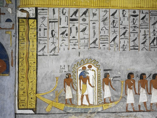 Egypt, Thebes, Luxor, Valley of the Kings, Tomb of Ramses I, mural painting of Ra in solar bark in burial chamber from 19th dynasty : Stock Photo