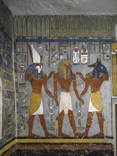Stock Photo: 1788-10452 Egypt, Thebes, Luxor, Valley of the Kings, Tomb of Ramses I, mural painting of Pharaoh between Harsiesis and Anubis in Burial chamber from 19th dynasty