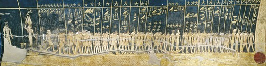 Stock Photo: 1788-10465 Egypt, Thebes, Luxor. Valley of the Kings, Tomb of Seti I, ceiling mural paintings of stars and constellations in Burial chamber from 19th dynasty