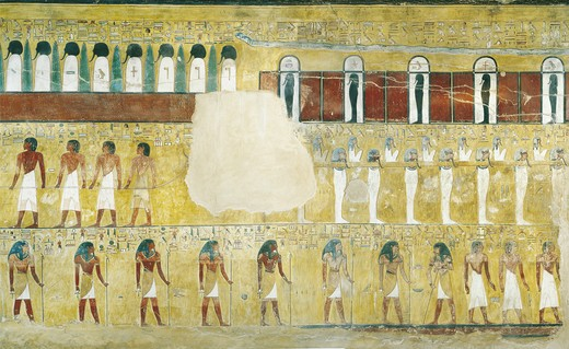 Egypt, Thebes, Luxor. Valley of the Kings, Tomb of Seti I, mural paintings in Burial chamber,19th dynasty : Stock Photo