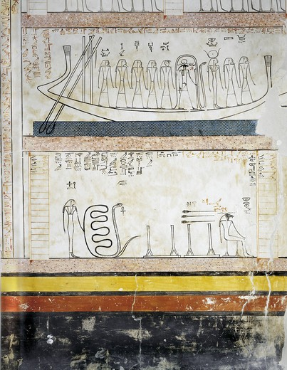 Egypt, Thebes, Luxor. Valley of the Kings, Tomb of Thutmose III, mural paintings from Burial chamber from 18th dynasty : Stock Photo