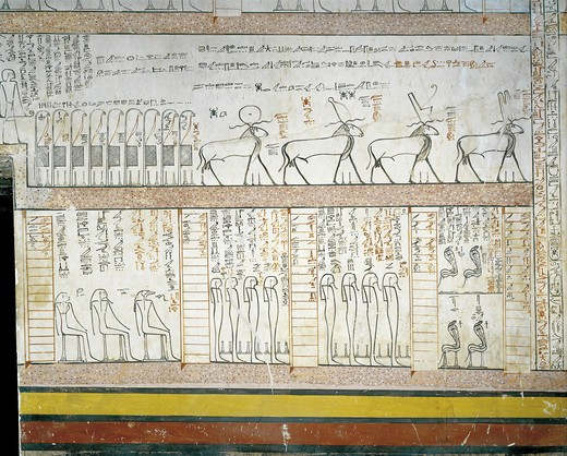 Egypt, Thebes, Luxor. Valley of the Kings, Tomb of Thutmose III, mural paintings from Illustrated Amduat in Burial chamber from 18th dynasty : Stock Photo