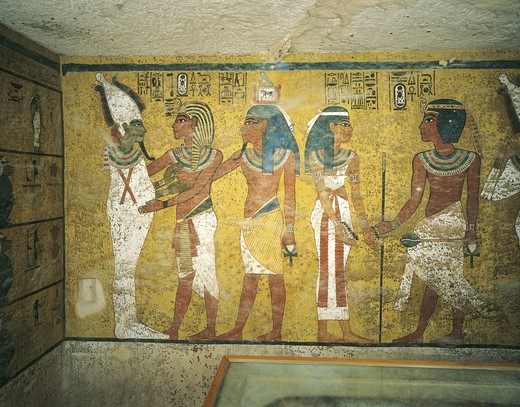 Egypt, Thebes, Luxor. Valley of the Kings, Tomb of Tutankhamen, mural paintings of Pharaoh and Ka meeting Osiris in Burial chamber from 18th dynasty : Stock Photo