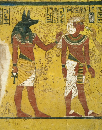 Egypt, Thebes, Luxor. Valley of the Kings, Tomb of Tutankhamen, mural paintings of Anubis and pharaoh in Burial chamber from 18th dynasty : Stock Photo