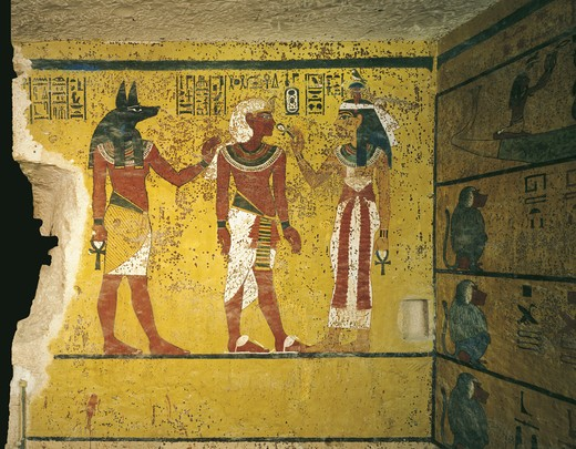 Stock Photo: 1788-10489 Egypt, Thebes, Luxor. Valley of the Kings, Tomb of Tutankhamen, mural paintings of pharaoh receiving symbol of eternal life 'ankh' from sky goddess Hathor in presence of Anubis, from 18th dynasty