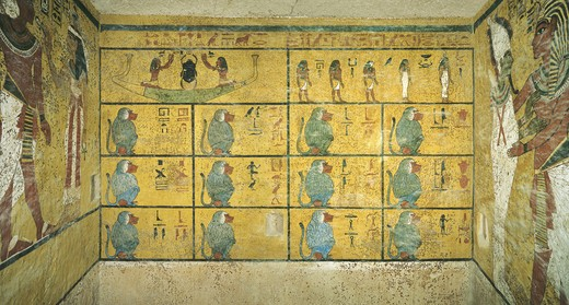 Stock Photo: 1788-10490 Egypt, Thebes, Luxor. Valley of the Kings, Tomb of Tutankhamen, mural paintings of Scarab beetle as Sun in solar bark and baboons, in Burial chamber from 18th dynasty