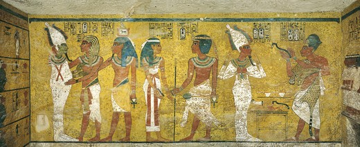 Stock Photo: 1788-10491 Egypt, Thebes, Luxor. Valley of the Kings, Tomb of Tutankhamen, mural paintings of Pharaoh and Ka meeting Osiris in Burial chamber from 18th dynasty