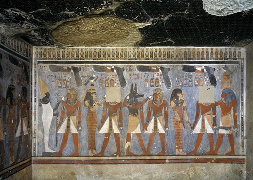 Stock Photo: 1788-10493 Egypt, Thebes, Luxor. Valley of the Kings, West Valley, Tomb of Amenhotep III, mural paintings of Pharaoh and Ma'at in Burial chamber from 18th dynasty