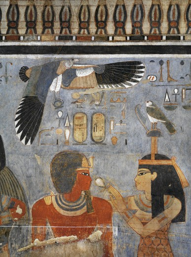 Stock Photo: 1788-10494 Egypt, Thebes, Luxor. Valley of the Kings, West Valley, Tomb of Amenhotep III, mural paintings of Pharaoh and Ma'at in Burial chamber from 18th dynasty