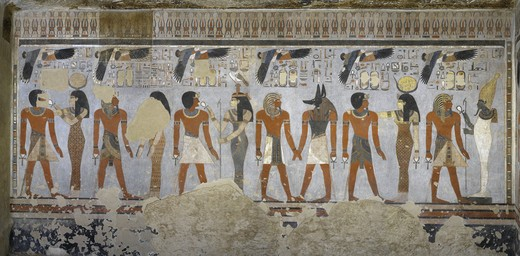 Stock Photo: 1788-10495 Egypt, Thebes, Luxor. Valley of the Kings, West Valley, Tomb of Amenhotep III, mural paintings of Pharaoh and Ma'at in Burial chamber from 18th dynasty
