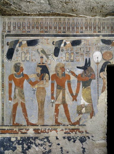 Stock Photo: 1788-10496 Egypt, Thebes, Luxor. Valley of the Kings, West Valley, Tomb of Amenhotep III, mural paintings of Pharaoh with Ma'at and Anubis in Burial chamber from 18th dynasty