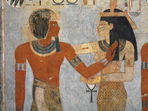 Egypt, Thebes, Luxor. Valley of the Kings, West Valley, Tomb of Amenhotep III, mural paintings of Pharaoh and Ma'at in Burial chamber from 18th dynasty : Stock Photo