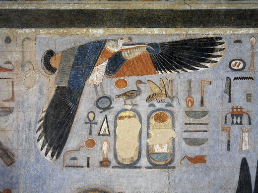 Stock Photo: 1788-10498 Egypt, Thebes, Luxor. Valley of the Kings, West Valley, Tomb of Amenhotep III, mural paintings of Vulture goddess Nekhbet grasping amulet in claws for protection, from 18th dynasty