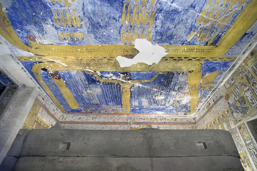 Stock Photo: 1788-10505 Egypt, Thebes, Luxor. Valley of the Kings, West Valley, Tomb of Ramses VII, Sky-goddess Nut and astronomical motifs in Burial chamber from 20th dynasty