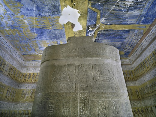 Egypt, Thebes, Luxor. Valley of the Kings, West Valley, Tomb of Ramses VII, Sky-goddess Nut and astronomical motifs in Burial chamber from 20th dynasty : Stock Photo