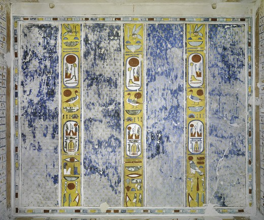 Egypt, Thebes, Luxor, Valley of the Kings, Tomb of Ramses IV, mural paintings of Cartouches enclosing kings names on ceiling, from twentieth dynasty : Stock Photo
