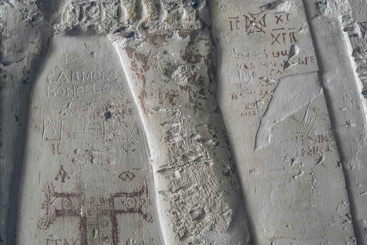 Egypt, Thebes, Luxor, Valley of the Kings, Tomb of Ramses IV, graffiti on wall in corridor one, from twentieth dynasty : Stock Photo