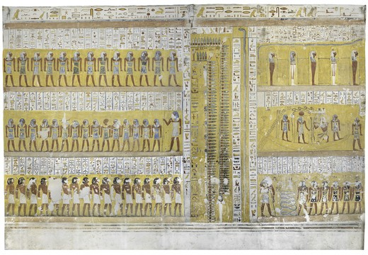 Egypt, Thebes, Luxor, Valley of the Kings, Tomb of Ramses IV, mural painting from Illustrated Book of Gates, from twentieth dynasty : Stock Photo