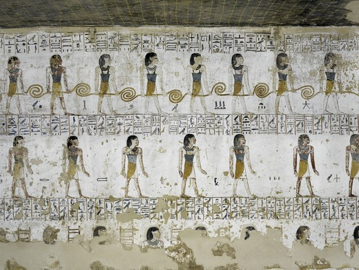 Stock Photo: 1788-10521 Egypt, Thebes, Luxor, Valley of the Kings, Tomb of Merneptah, mural painting from Illustrated Book of Gates, from nineteenth dynasty