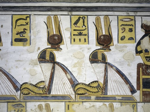 Stock Photo: 1788-10546 Egypt, Thebes, Luxor, Valley of the Kings, Tomb of Ramses III, mural painting of Serpent kings, from twentieth dynasty