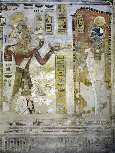 Egypt, Thebes, Luxor, Valley of the Kings, Tomb of Ramses III, mural painting of Pharaoh offering ritual vases, from twentieth dynasty : Stock Photo
