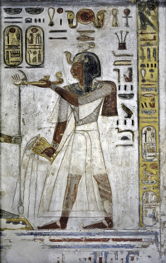 Stock Photo: 1788-10548 Egypt, Thebes, Luxor, Valley of the Kings, Tomb of Ramses III, mural painting of Pharaoh offering ritual vases, from twentieth dynasty