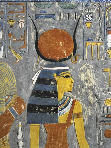 Stock Photo: 1788-10554 Egypt, Thebes, Luxor, Valley of the Kings, Tomb of Horemheb, mural painting of Isis in Hathor's headdress, from nineteenth dynasty