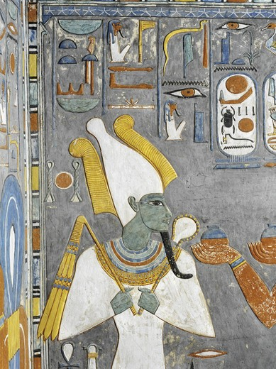 Stock Photo: 1788-10555 Egypt, Thebes, Luxor, Valley of the Kings, Tomb of Horemheb, mural painting of Osiris, from nineteenth dynasty