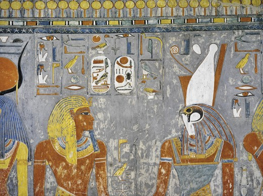 Stock Photo: 1788-10559 Egypt, Thebes, Luxor, Valley of the Kings, Tomb of Horemheb, Vestibule, Mural paintings, Pharaoh and Harsiesis